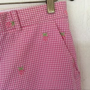 LILLY PULITZER PINK GINGHAM STRAWBERRY PANTS SZ 12